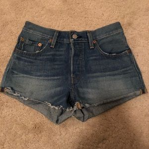 Levi's 501 cut off shorts blue explorer